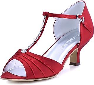 ElegantPark EL-035 Women Peep Toe T-Strap Pumps Mid Heel...