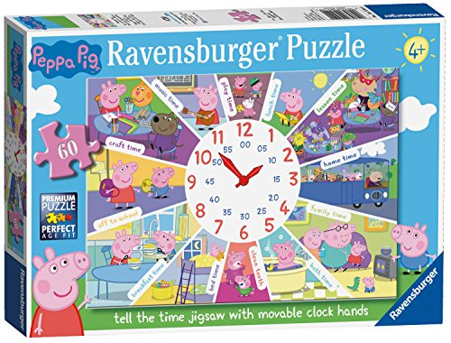 Ravensburger Peppa Pig Puzzle mit Uhr, 60-teilig