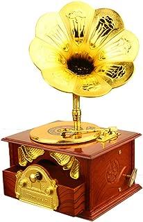 Mini Vintage Retro Classic Phonograph,Twisting The Clockwork Turntable Gramophone Art Disc Music Box & Make up Case &Jewelry Box Home Decor (4.92x4.13x8.46inch, Brown)