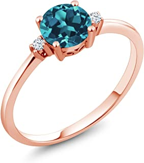10K Rose Gold London Blue Topaz and White Created Sapphire Women's Jewelry Engagement Ring (0.78 Ct Round, Available 5,6,7,8,9)