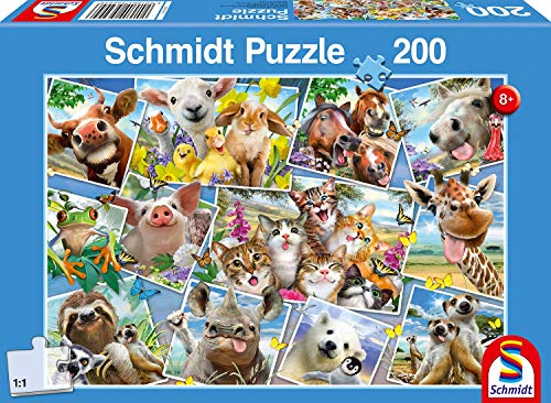 Schmidt Spiele 56294 Kinderpuzzle, Tierische Selfies, 200 Teile, Bunt