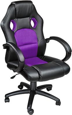 TecTake Silla de escritorio de oficina, Racing - disponible en diferentes colores (Púrpura)