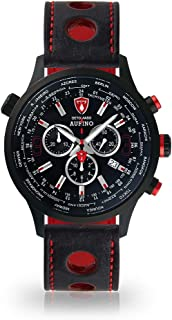 DETOMASO AURINO Mens Watch Chronograph Analogue Quartz Black Racing Leather Strap Black Dial DT1061-A-836