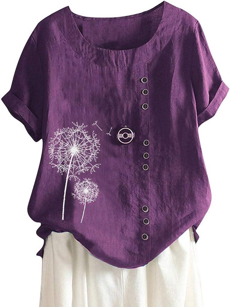 Cotton Linen Tops for Womens Floral Max 90% OFF Shirt Sleeve Short Print overseas Tee