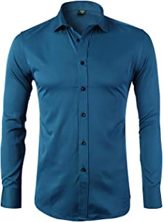 Mens Dress Shirts Bamboo Fiber Slim Fit Long Sleeve Casual Button Down Shirts Wrinkle Free Dress Shirts for Men