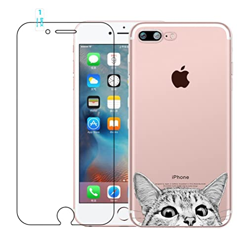 blossom01 iPhone 7 Case, iPhone 8 Case with Tempered Glass Screen Protector, Crystal Clear Soft Silicone Gel TPU Case Cute Cartoon Scratch Resistant Protective Cover for iPhone 7/8 - Cat