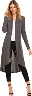 Women's Open Front Drape Lightweight High Low Hem Long Sleeve Duster Long Maxi Cardigan with Pockets