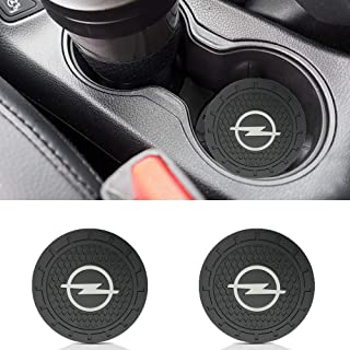 Auto sport 2.75 Inch Diameter Oval Tough Car Logo Vehicle Travel Auto Cup Holder Insert Coaster Can 2 Pcs Pack (Opel)