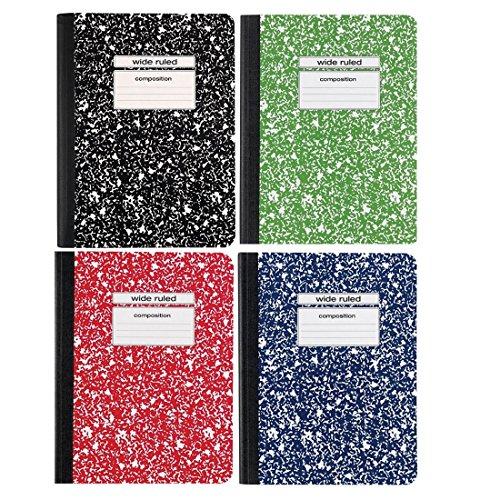 Staple Kompositionsbücher breit liniert, Blau, Rot, Grün, Schwarz, 100 Seiten, 4 Stück