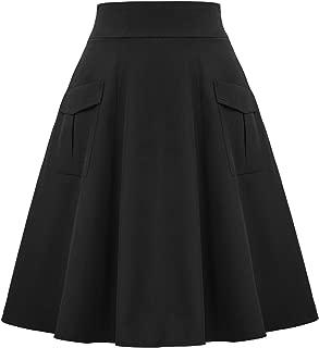 Belle Poque Women's Vintage High Waist A Line Flared Skirt 2 Patch Pocket BP799