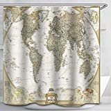 World Map Shower Custom Fabric Vintage Look Style Countries Globe Curtains Waterproof Colorful Cloth Fabric Durable Shower Custom Bathroom Decor Set 12 White Plastic Hooks. 72 x 72 inch