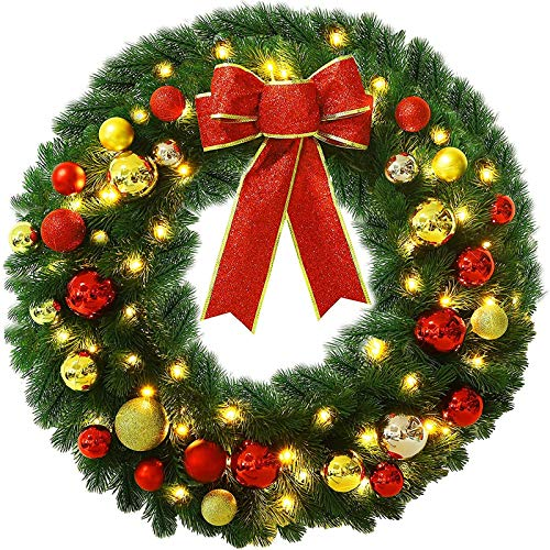 Lulu Home Pre-lit Christmas Wreath with Hook, Battery Operated Christmas Wreath Decorative Hanging Ornament, Artificial Door Wreath Clear LED Lights with Timer, Hook Included (24 Inch)