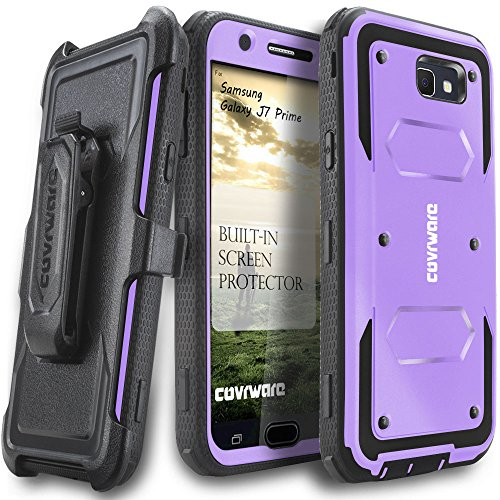 COVRWARE Aegis Series Compatible with Galaxy J7 Prime/J7 Sky Pro/J7 Perx/J7 V 2017/J7 2017 Heavy Duty Full-Body Rugged Holster Armor Case with Built-in Screen Protector, Belt-Clip, Kickstand, Purple