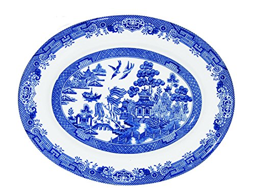 Churchill Fina China cazuela Oval 12.5' azul Willow