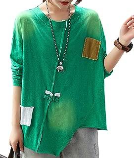 YESNO Women Casual Loose Long/Short Sleeve TEE T-Shirts Chinese Knots Decorated Asymmetric Hem Summer Tops/Pockets E99
