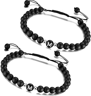 2x Partner Armband Set Infinity Anhänger Couple Freundschaft Schwarz Weiß Love