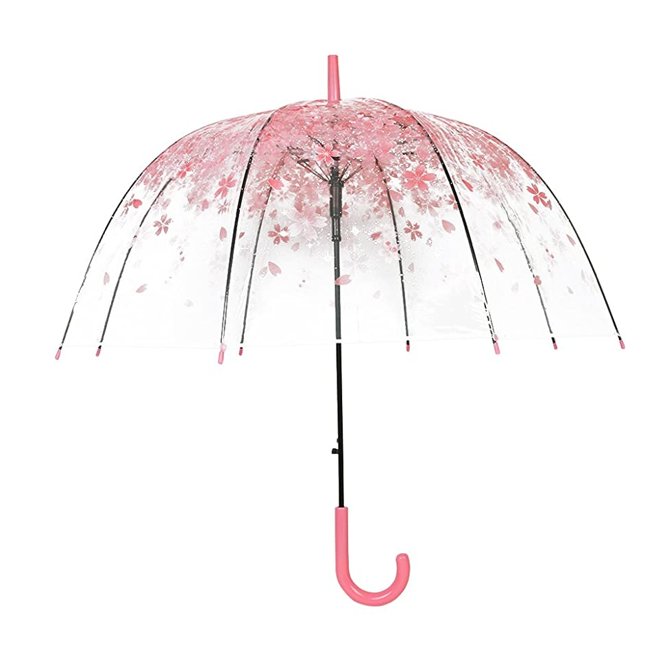 XUANLAN Transparent Cherry Blossom Bubble Dome Umbrella, Romantic Clear Semi-automatic POE Stick Umbrella for Rain and Wind (Pink Cherry)