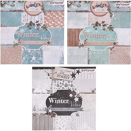 ewtshop® 3blocs de 36feuilles à motifs, imprimé d'un seul côté, papier design, papier de loisirs créatifs, papier de décoration - Total de 108feuilles et 27motifs