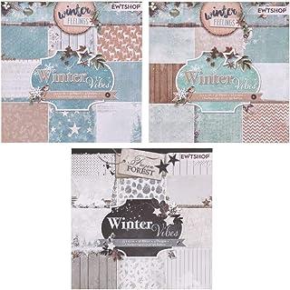 ewtshop® 3blocs de 36feuilles à motifs, imprimé d'un seul côté, papier design, papier de loisirs créatifs, papier de déc...