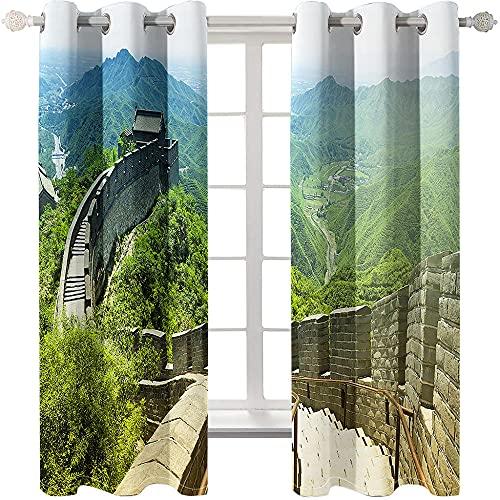 QGWMCD Verdunklungsvorhang Chinesische Mauer,Super Soft Polyester Fenstervorhang Room Verdunkelung Home Decor für Schlafzimmer Wohnzimmer 140x215cm x2