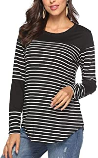 Domple Women's Blouse Top Tee Striped Casual Round Neck Long Sleeve T Shirt Blouse Tops