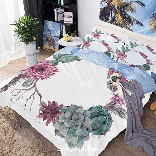 Zozun 3 Piece Bed Duvet Cover Set,Summer Vintage Floral Wreath Boho Chic Style Branches Feathers Decorative,Include 1 Quilt Cover+2 Pillow case,Sage Green Light Pink Mauve,Duvet Cover Set