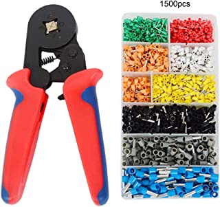 Ferrules Crimper Pliers Set, Wire Ferrule Crimping Tool Kit with 1500pcs Wire Ends Terminals Heavy Duty Self-adjustable Bootlace Ferrule Crimp Tools AWG23-7, 0.25-10mm²