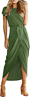 Women's Casual Summer Cap Short Sleeve Loose Slit Solid Party Long Maxi Dress with Belt