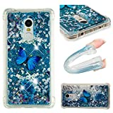MRSTERUS Case for Redmi Note 4,Glitter Liquid Sparkle Floating Shiny Quicksand Clear Soft TPU Silicone Shockproof Protective Bumper Thin Cover for Redmi Note 4 / Redmi Note 4X Butterfly YBL