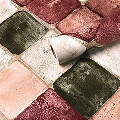 WINGOFFLY 32.8ftx1.47ft 3D Wallpaper Brick Pattern Self-adhesive Waterproof Wall Paper Decor
