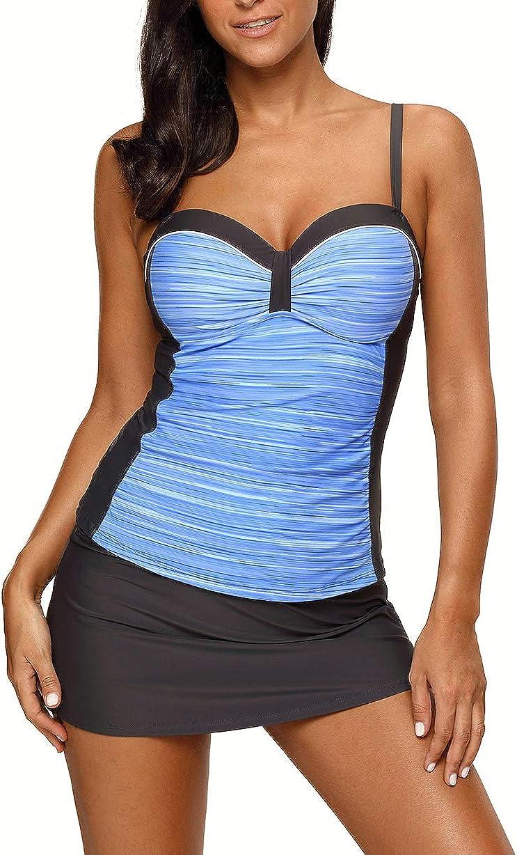 Hzikk Popular Women Split Skirt Type Swimsuit Set Underwire Sling Plus Size Swimsuit Female Conservative Beach Skirt Swimwear,Blue,XXL
