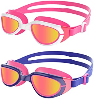 Aegend Polarized Kids Swim Goggles, 2 Pack Swimming Goggles for Boys & Girls, UV Protection, Anti-Fog, Leak Proof, Soft No...