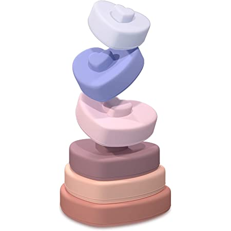 TYRY.HU Stacker Giocattolo Impilabile Bambini Montessori Giochi Giocattoli educativi a Colori Massaggiagengive in Silicone Regalo di Natale Regalo di Compleanno per Ragazzo Ragazza(Heart)