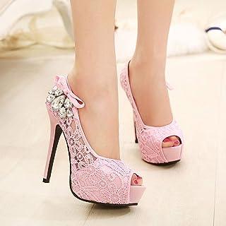 Fashion Wedding Heels,Bridesmaid High Heels, Fashion Princess High Heels, High Heel Sandals (Color : Pink, Size : 41)