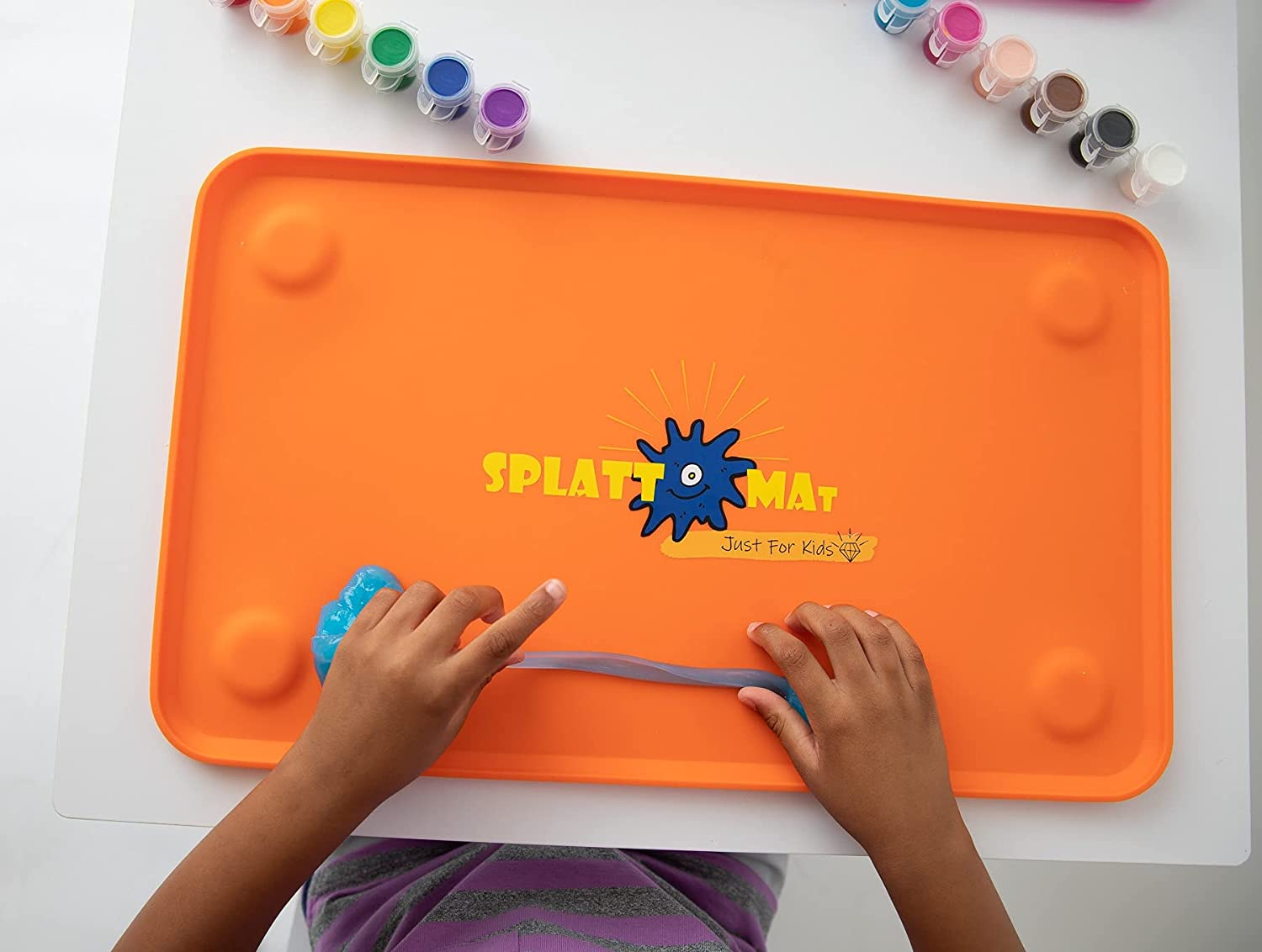 Splattmat  Large Silicone Baby & Kid Suctioned Placemat – New All Ages Sensory Splat Mat  Arts & Crafts  Travel Rings Included