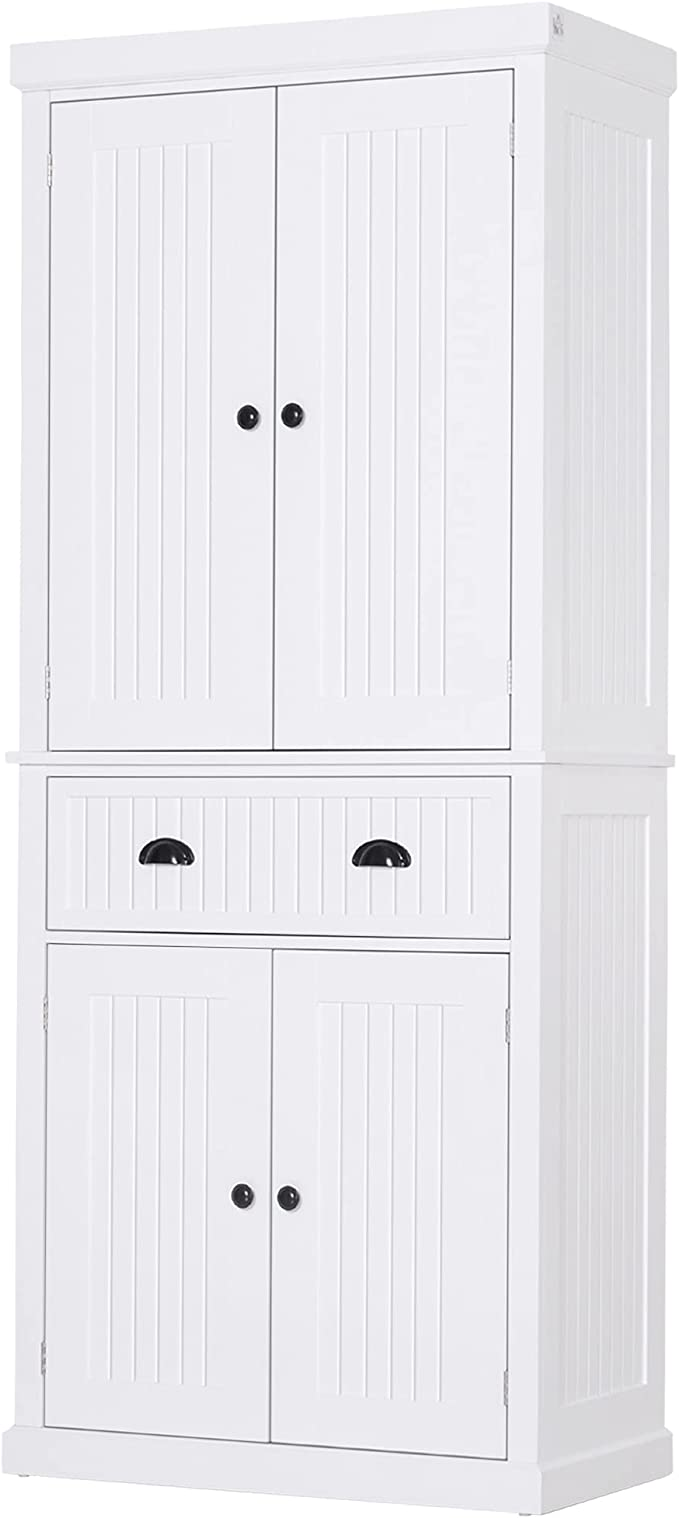 Amazon Com Homcom 72 Traditional Freestanding Kitchen Pantry Cabinet Cupboard With Doors And 3 Adjustable Shelves White Furniture Decor