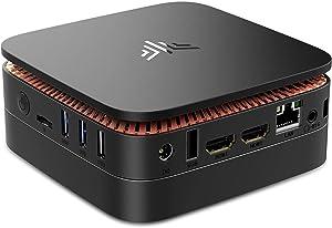 Mini PC, Quad Core Ιntel Celeron J3455 Mini Desktop Computer Windows 10 Pro(64-bit), 4GB DDR3/64GB eMMC Small Computer 4K Support 2.5