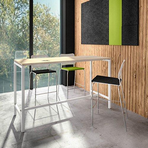 Weber Büro Stehtisch NOVA 180 x 70 cm groß Hochtisch Bartisch Tresentisch Theke, Gestellfarbe:Weiß