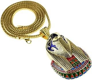 Horus Falcon Pendant Chain Gold Finish Egyptian Bird God 36