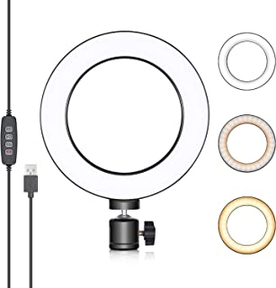 Neewer LED Ring Light 6-inch for YouTube Video Live Streaming Makeup Selfie, Desktop Mini USB Camera LED Light with 3 Light Modes and 11 Brightness Level