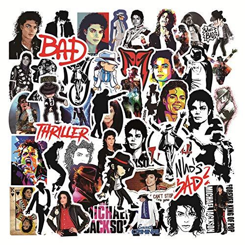 KEJIA Etiqueta engomada del Equipaje de la Maleta Impermeable del Cantante de Rock de Michael Jackson 50pcs