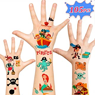 105pcs Temporary Pirate Tattoos for Kids, Pirate Party Supplies Favors Decorations, Birthday Gifts Games Accessories for Children Boys Girls