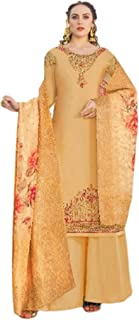 Golden Designer Indian Pakistan Muslim Embroidered Straight Crape Palazzo Suit Ethnic Bollywood Fashion 5999
