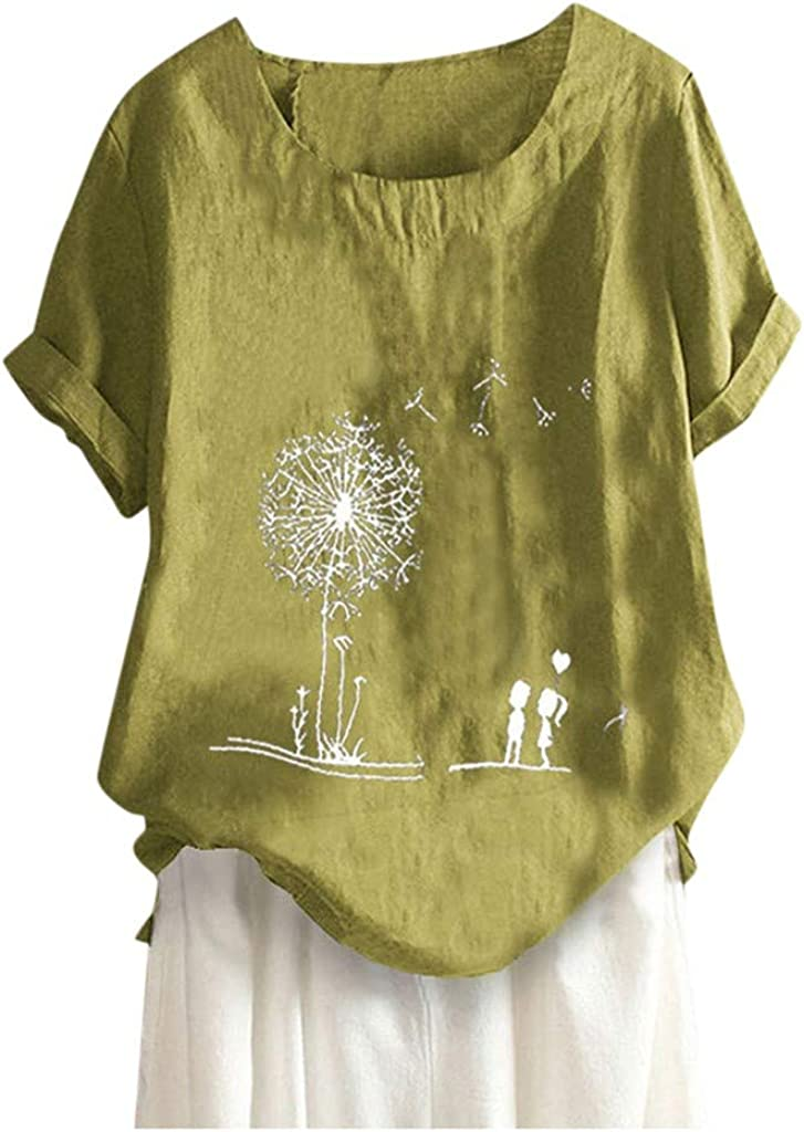 Sunmoot Clearance Sale Womens Plus Size Linen Shirts Dandelion Print Relaxed Button Crewneck Short Sleeve Blouse Tunic Tops