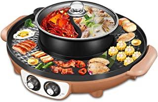 YLCJ Electronic Barbecue Grill Removable monobloc pan Smokeless Toasted Grill Table and Fondue Grill