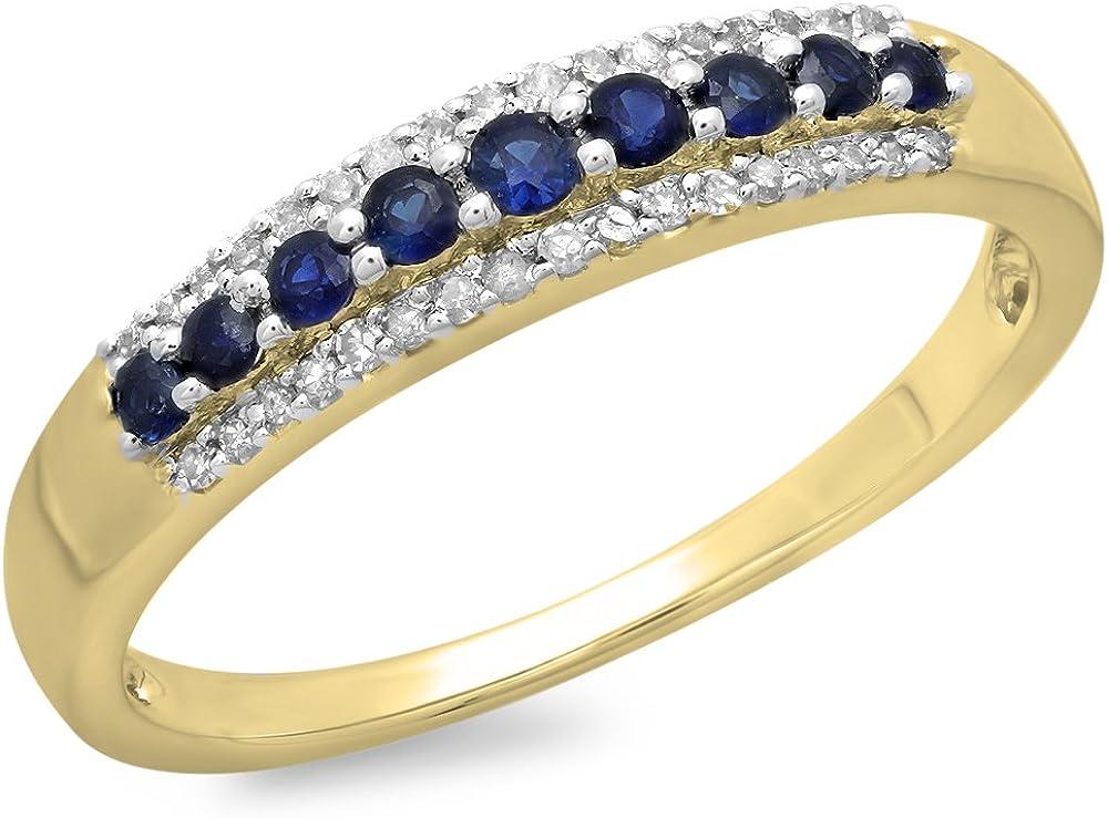 Dazzlingrock Collection Round Gemstone and Round White Diamond Ladies Stackable Wedding Band | 10K Yellow Gold