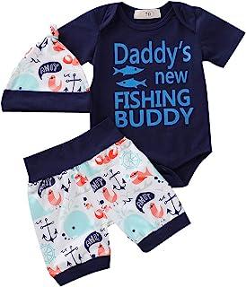 d2eadff5d Muasaaluxi Newborn Baby Boys Daddy's New Fishing Buddy Letter Printed  Romper Cartoon Shorts Pants Hat Summer