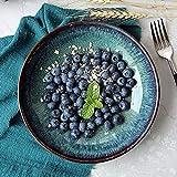 Müslischalen-Set Schüsseln Vintage Tinte grüne Keramikschale Ramen Schüssel kreative Tiefe Teller 8 Zoll Fruchtplatte Salatplatte Nudelschalen