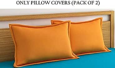 Home Ecstasy 100% Cotton Pillow Covers Set of 2 Cotton, 220tc Plain Orange Cotton Pillow Covers 18 x 27 Set of 2 Cotton Pillowcase