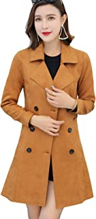 Women's Cute Lapel Collar Double Breasted Slim Lightweight Belted Suede Trench Coat